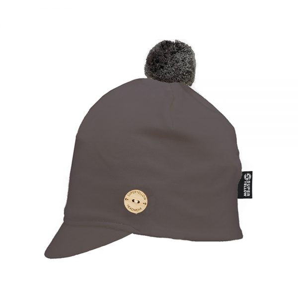 ALTAIR grey cotton peaked beanie