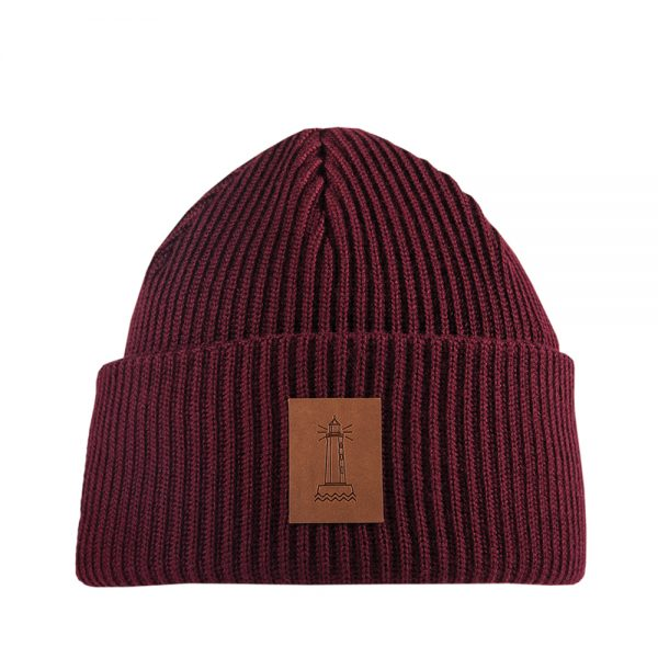 BEACON knitted wool beanie burgundy