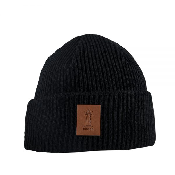 BEACON knitted wool beanie black
