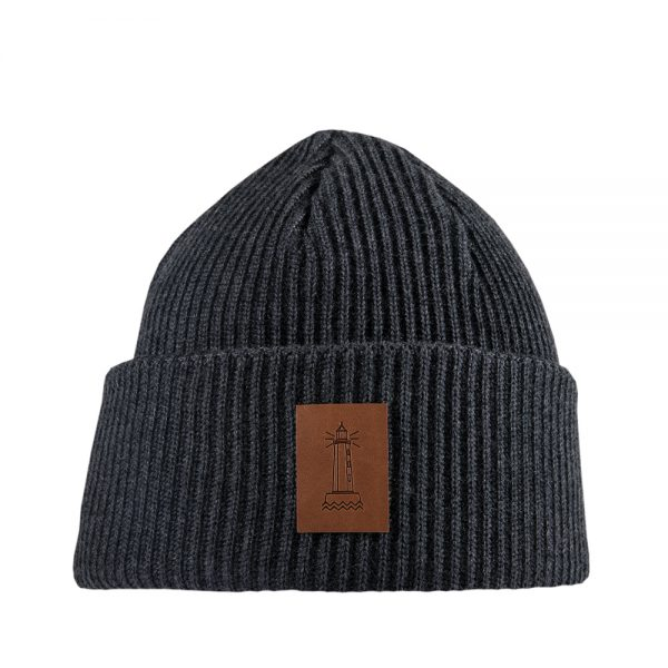 BEACON knitted wool beanie charcoal