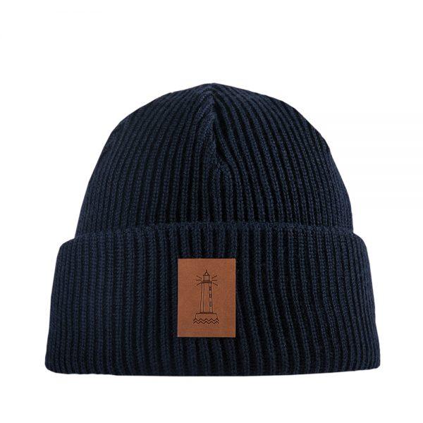 BEACON knitted wool beanie dark blue