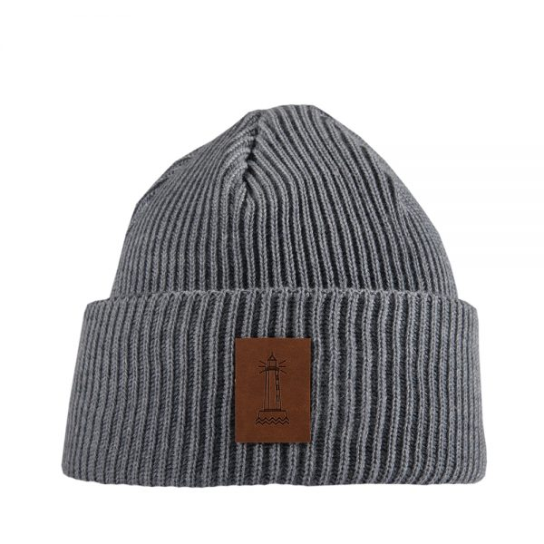 BEACON knitted wool beanie light grey