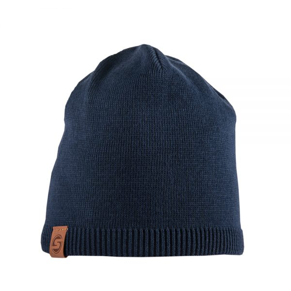 BISCAY cotton beanie dark blue with leather patch