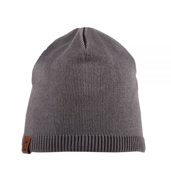 BISCAY beanie cotton grey with leather patch