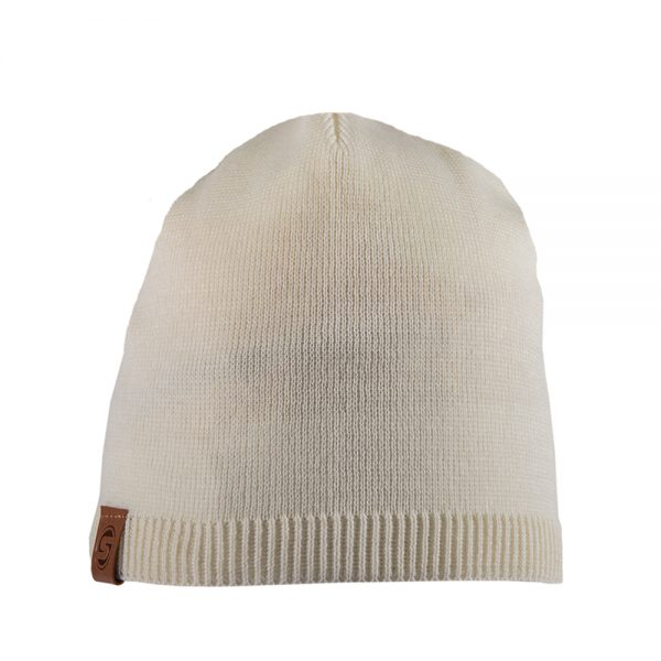 BISCAY cotton beanie off white with leather patch