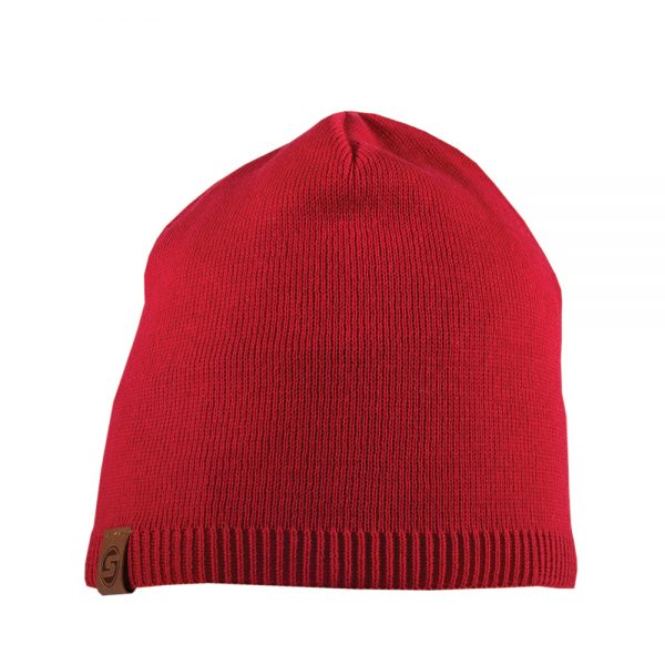 BISCAY cotton beanie red with leather patch