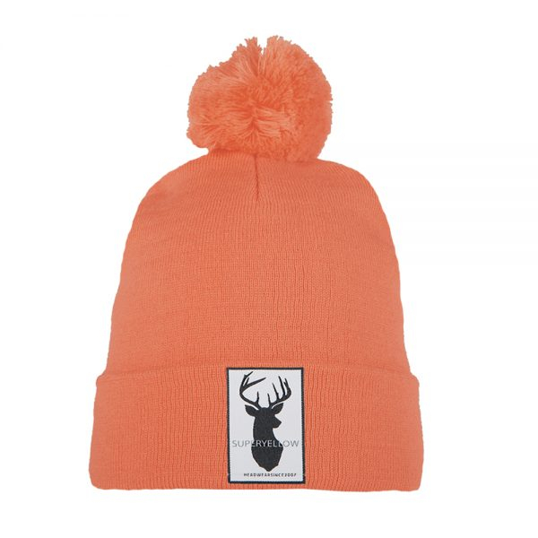 FJELL wool blend beanie coral with patch and pompom