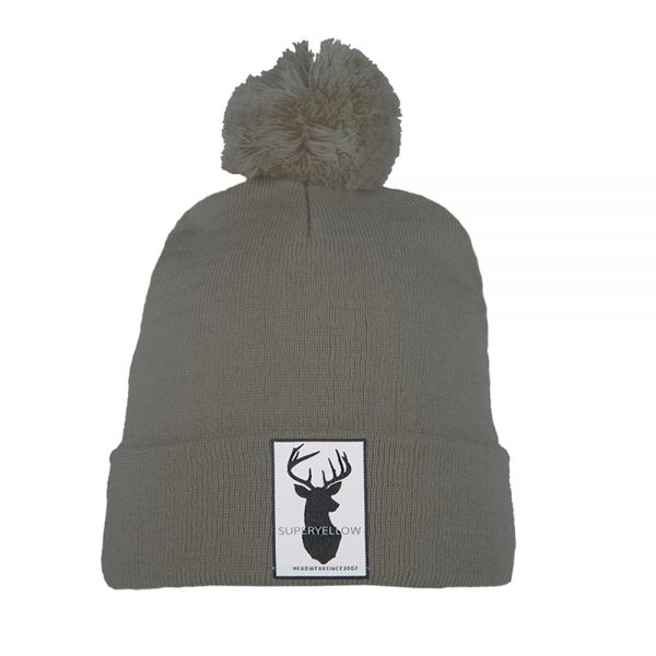 FJELL wool blend beanie grey with patch and pompom