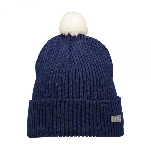 HALO beanie wool dark blue off white