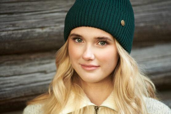 HANNAH merino wool beanie dark green