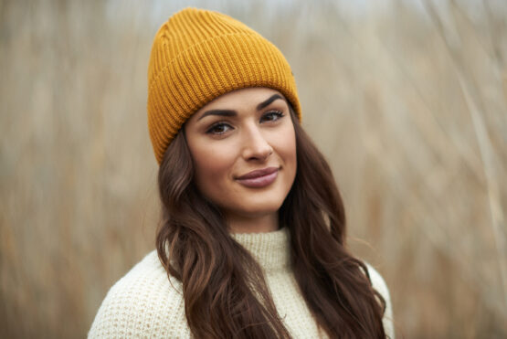 HANNAH merino wool beanie mustard