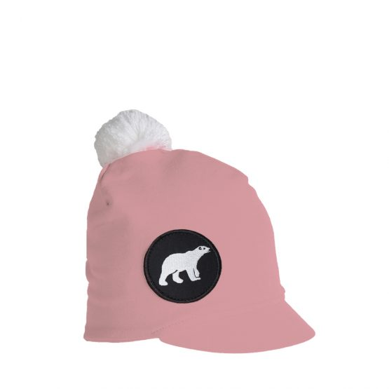 ICY Junior kids peaked beanie in light pink with polar bear patch