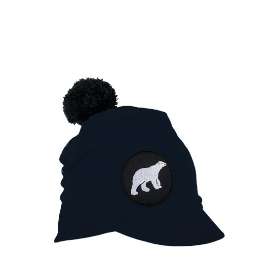 ICY Junior cotton beanie with polar bear patch and pompom in black