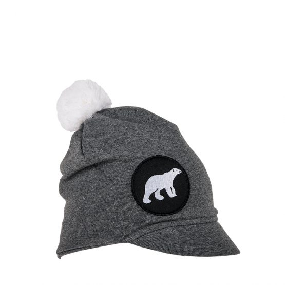 ICY Junior peaked cotton beanie in charcoal with polar bear patch