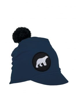ICY Junior peaked beanie in dark blue with polar bear patch