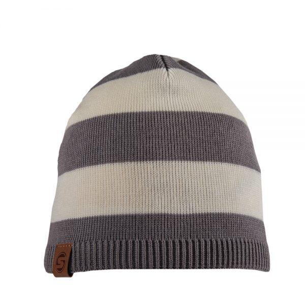 NAUTIC beanie striped grey/off white