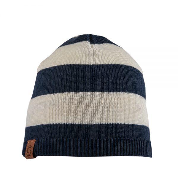 NAUTIC beanie dark blue/off white striped