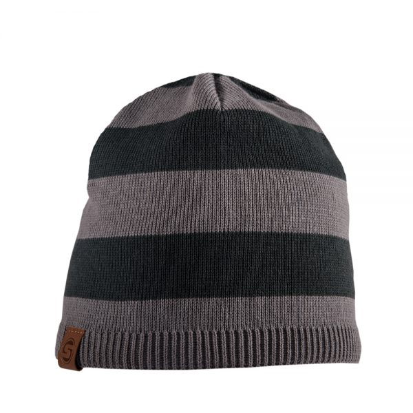 NAUTIC beanie dark grey striped
