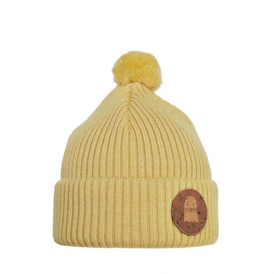 PHOCA Junior merino wool beanie light yellow