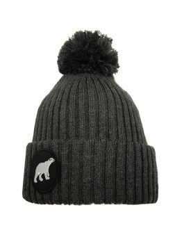 POLAR junior merino wool beanie in dark grey with polar bear patch