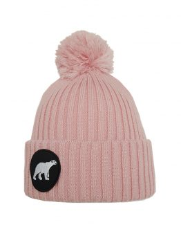 POLAR junior merino wool beanie in light pink with polar bear patch