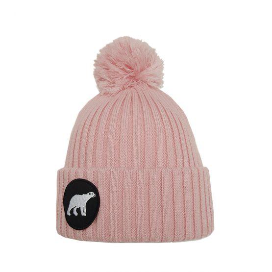 POLAR junior merino wool beanie in light pink with polar bear patch