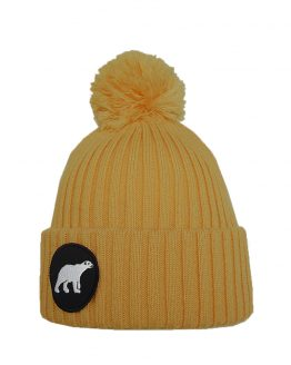 POLAR junior merino wool beanie in mustard yellow with polar bear patch