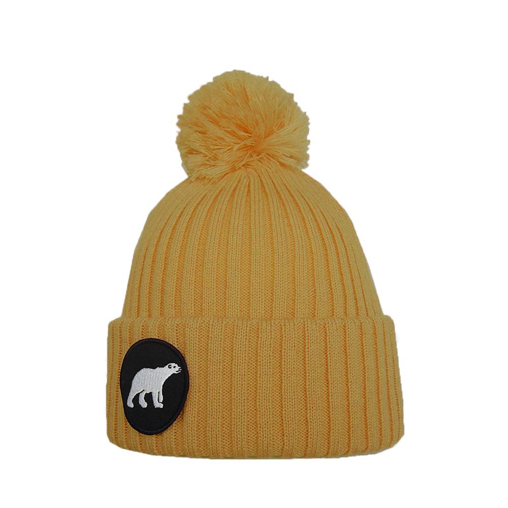 eea3930f7ae POLAR junior merino wool beanie in mustard yellow with polar bear patch