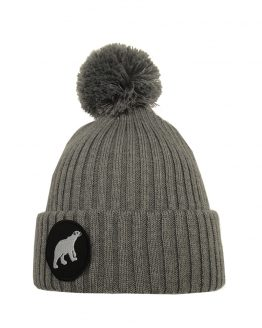 POLAR junior merino wool beanie in light grey with polar bear patch