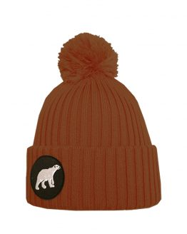 POLAR junior merino wool beanie in mustard terracotta with polar bear patch