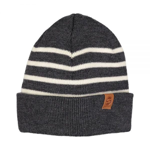 SKIPPER beanie wool grey off white