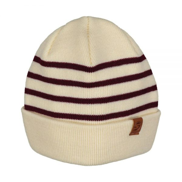SKIPPER beanie wool off white dark red