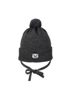 TEDDYBEAR baby beanie dark grey merino wool organic cotton