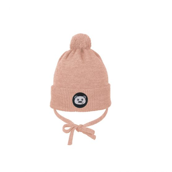 TEDDYBEAR baby beanie light pink merino wool organic cotton