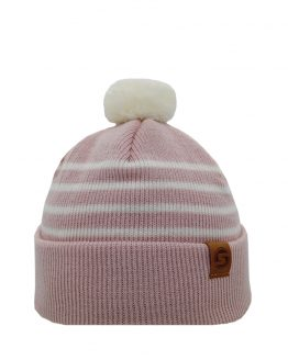 LITTLE SKIPPER Merino wool beanie light pink/off white