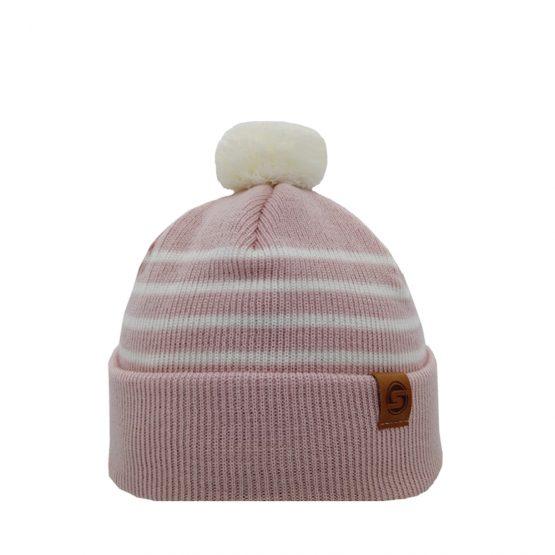 LITTLE SKIPPER Merino wool beanie light pink/off white