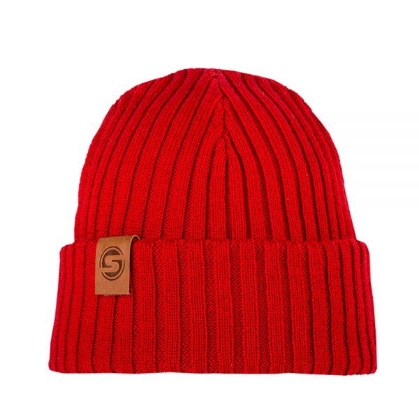 SAILOR JUNIOR beanie red merinowool with leather patch