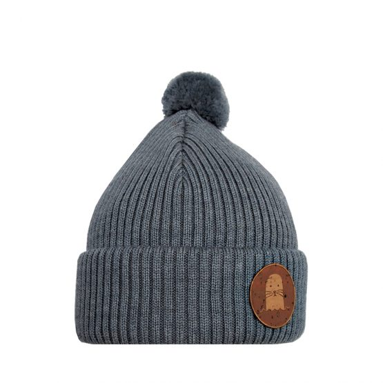 PHOCA Junior merino wool beanie grey