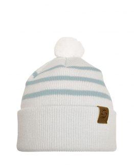 LITTLE SKIPPER Merino wool beanie off white/light blue